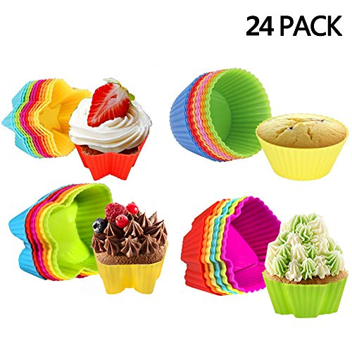 Hblife 24pc pirottini colorati in silicone per muffin cupcake torte forno decorazione baking cup