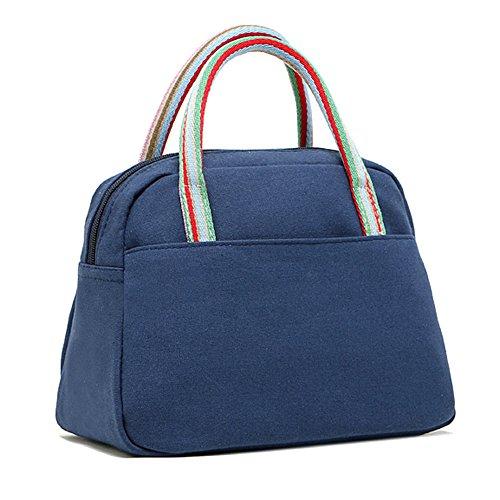 TININNA Vintage cotone Pranzo al sacco Tote Bag pranzo Organizer Holder pranzo Contenitore del pranzo Pranzo Borsetta Nero Blu