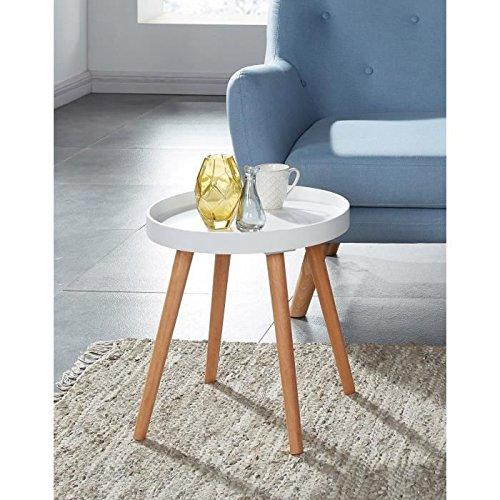 ELLIOT Table d'appoint ronde 40x40 cm - Laqué blanc satiné