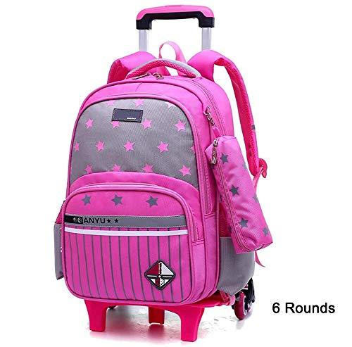 Trolley Schultasche,Wasserdichter Nylon Kinder Rucksack mit abnehmbaren Rädern Trip Rucksack -2/6 Rollen Trolley Rucksack,Pink,6rounds -