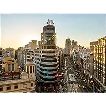 Cuadro sobre lienzo 120 x 90 cm: Gran via at sunset, Madrid, Spain de Matteo Colombo - cuadro terminado, cuadro sobre bastidor, lámina terminada sobre lienzo auténtico, impresión en lienzo