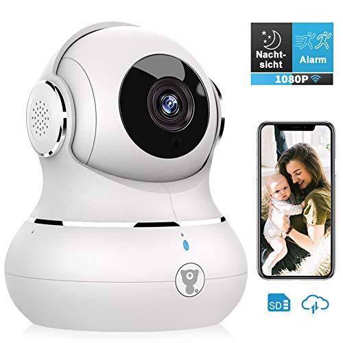 Überwachungskamera, Littlelf WLAN IP Kamera 1080P HD WiFi Kamera mit 360°Schwenkbare Baby Monitor, Zwei-Wege-Audio, Bewegungserkennung, Nachtsicht mit Alexa (Weiß)