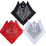 Pack de 3(100% Algodón) Pañuelos Bandanas de Modelo de Paisleypara Cuello / Cabeza Multicolor Múltiple para Mujer y Hombre (Pack de 3; Negro&blanco&rojo)