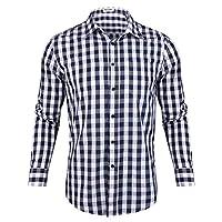 Aibrou geruit overhemd met lange mouwen voor heren, katoen, vrijetijdshemd, regular fit, klederdrachten, Oktoberfest
