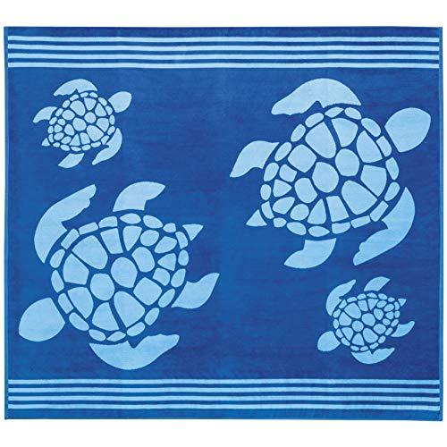 Delindo Lifestyle® Frottee Strandtuch Tropical Turtle BLAU XXL, 100{746eb6f3765f21479e03eabf3169b4629f42bbc70563ce87fa1565163999b72e} Baumwolle, Strandlaken ist 180x200 cm groß