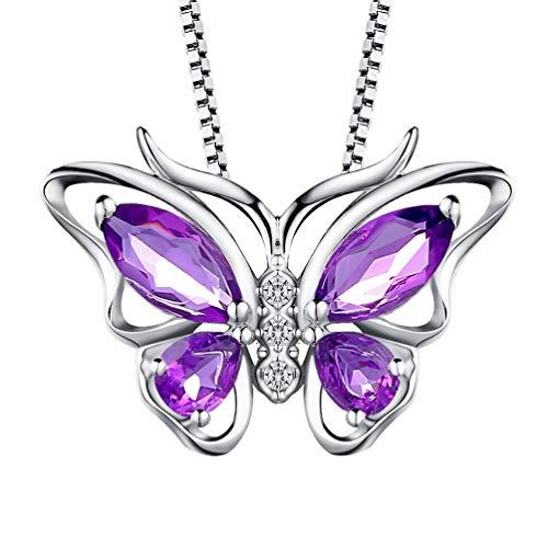ette mit Anhänger Schmetterling Stein Design Halskette 925 Sterling Silber Lila ()