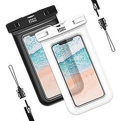 YOSH Funda Impermeable Móvil Universal 2 Unidades, IPX8 Certificado, Bolsa Sumergible para iPhone X 8 7 6s Samsung J5 J3 J7 S7 S8 S9 A5 Huawei P20 P10 P9 Lite y Otros Móviles Hasta 6 Pulgadas (Negro&Blanco)