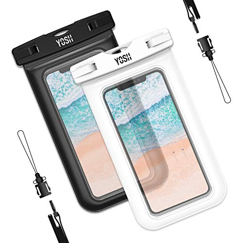 YOSH wasserdichte Handyhülle universal Tasche für iPhone X/8/7/6/6s Plus für Samsung S9/S8/S7/S6/S5/A5 Huawei Wasser-, Staub-, schmutz-, schneegeschützte Hülle, für Handys bis 6.1 Zoll (weiß&schwarz)