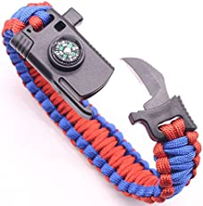 ThreeCat Military Outdoor Paracord Survival Bracelet 550 LB - Hiking Travelling Camping Gear Kit