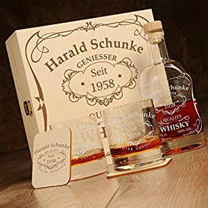 6-teiliges Whisky Geschenk-Set in Holzkiste New York Bar inkl. Gravur Motiv -