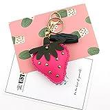 DOUERDOUYUU Hübsche große Schlüsselanhänger Erdbeer Quaste Lederband Schlüsselanhänger Schlüsselanhänger Schlüsselanhänger Geschenk (Rose Red)