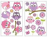 19-teiliges Pinke Baby Eulen auf Ast Wandtattoo Set Kinderzimmer Babyzimmer in 4 Größen (2x16x26cm mehrfarbig)