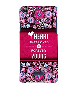 Love Is Young Forever 3D Hard Polycarbonate Designer Back Case Cover for Micromax Canvas Selfie 3 Q348