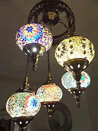 Turkish Ceiling Light Hand Made 5 Glass And 39 GOLD 39 Moroccan Mosaic G