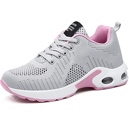 Donna Cuscino d'Aria Scarpe da Ginnastica Corsa Sportive Respirabile Mesh Running Fitness Sneakers Basse Basket Sport Grigio Rosa 37 EU