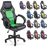 TRESKO Silla giratoria de oficina Sillón de escritorio Racing disponible en 14 colores, bicolor, silla Gaming ergonómica, cilindro neumático certificado por SGS, silla adecuada para niños mayores (Negro / Verde)