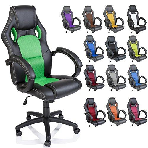 DWD-Company Racing Chefsessel Bürostuhl Drehstuhl 14 Farbvarianten, gepolsterte Armlehnen, Wippmechanik, Lift SGS geprüft (schwarz/grün)