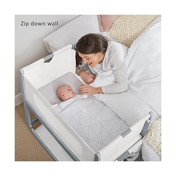SnuzPod 3 Bedside Crib - Dove Grey Snuz SnuzPod 3 has added functionality, a lighter bassinet and a more breathable sleeping environment. More than just a bedside crib; use as a bedside crib, stand alone crib or moses basket/bassinet. Simply attach the crib to your bed using straps provided (fits frame and divan beds) and your ready use as a bedside crib. The 9 different height settings allow you to ensure the crib is the right height for your bed (31-63cm) New! SnuzPod 3 now comes with an optional reflux function, by tilting the crib and setting an incline to reduce reflux symptoms little one can get a better nights sleep. 2