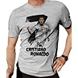 Zupaco Men's Round Neck Cotton T-Shirt CR7 Cristiano Ronaldo Fan Art Theme - Design D16 (Grey_X_Large)