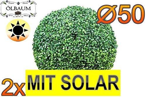 2X Buchsbaum mit Solarbeleuchtung, große Buchsbaumkugel Ø 50 cm, Durchmesser 500 mm grün dunkelgrün