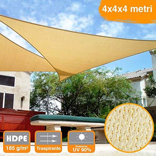 Bakaji 2832416 vela telo parasole, tenda triangolare ombreggiante in hdp, resistente, protezione uv 90%, terrazzo con aggancio, occhielli beige, 4 x 4 x 4 mt