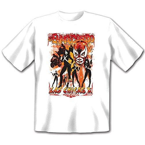 Biker - Damen und Herren T-Shirt mit dem Motiv: Las chicas X Größe: Farbe: weiss - von van Petersen Shirts Weiß