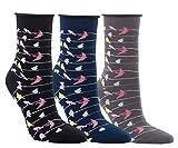 Vitasox 11961 Damen Socken Baumwolle Rollrand Damensocken bunt ohne Gummi ohne Naht 3 Paar 39/42