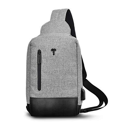 Sheng Xuan Brusttasche Schultertasche Rucksack Sling Bag, Wasserdichte Umhängetasche Crossbody Bag Chest Pack für Wandern Radfahren Bergsteigen Reisen, Leichte Umhängetasche Herren und Damen(Grau)