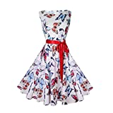 VEMOW Elegante Damen Vintage Bodycon Sleeveless Halter beiläufige Tägliche Abend Party Prom Bow Brautjungfern Swing Dress Faltenrock A-Linie Rock(Weiß 1, EU-38/CN-S)
