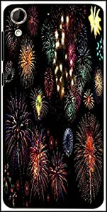 Snoogg Colorful Fireworks Designer Protective Back Case Cover for HTC Desire 728