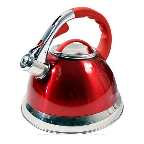 Prima - Bouilloire Sifflante 3.5L Acier Inoxydable avec Poignée Silicone Rouge 11144C