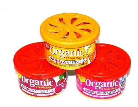 Trio de Fruits Parfumée Mix 3boîtes Organic Scents–1x Cherry, parfum vanille, Bubble Gum voiture Parfum