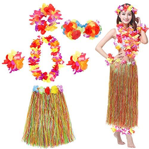 VSTON Gonna Hawaiana Ghirlanda Collane Hawaiane Festa Colorido per Donna Bambina Ragazza Hula Leis Flowers Costume Fantasia Luau Party Halloween Accessori Decorazioni,Colorido 6 Packs 60CM Gonna