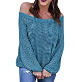 Oberteile Damen Sexy Sonnena Rundhals Schulterfrei Party Top Bluse Frauen Slim Fit Langarm T-Shirt Casual Schöne Gestrickt Oberteile Elegante Freizeit Stricke Tanktops (XL, Blau Sexy)
