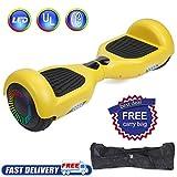 Huanhui Balance Board 6,5' Gyropode Smart Skateboard Électrique, LED Auto-équilibrage, Smart Scooter Overboard Sécurisé UL, pour Enfants und Adultes, Jaune