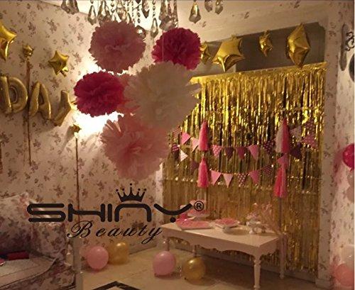 ShinyBeauty® Guirlande Feuille Frange Backdrop-3ftx10ft-silver Porte Fenêtre Rideau/Toiles de Fond Décoration de fête, doré, 3FTx8FT