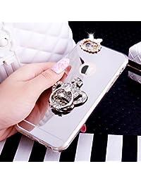 iPhone 6S caso, [con purpurina TPU caso] ikasus Crystal Rhinestone Bling Diamond Glitter caso de maquillaje espejo de goma anillo soporte espejo–Carcasa de TPU para iPhone 6S/6,