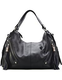 CUIR DESTOCK sac à main / sacoche porté main et bandoulière cuir grainé modèle sharon noir - nouvelle collection 2018