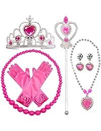 SPECOOL Gilrs Princess Dress up Accesorios 6 piezas Juego de regalo Princess Gloves, Tiara Crown and Wand, collares para niños (rosa)