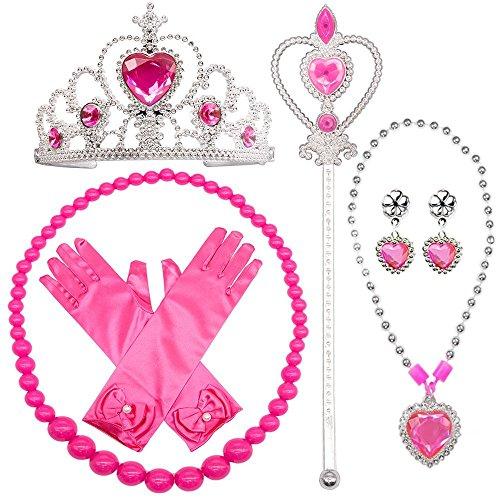 ssin Anzieh Zubehör 6 Stück Geschenkset Prinzessin Handschuhe, Tiara Krone und Zauberstab, Halsketten für Kinder (rosa) ()