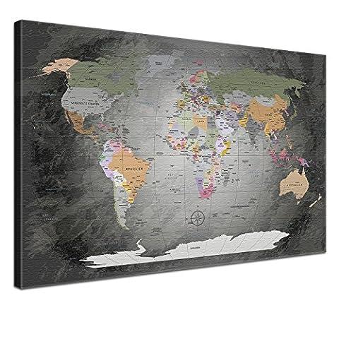 """LanaKK - Weltkarte Leinwandbild mit Korkrückwand zum pinnen der Reiseziele – """"Worldmap Edel Grau """" - deutsch - Kunstdruck-Pinnwand in grau, einteilig & fertig gerahmt in 100 x 70 cm"""