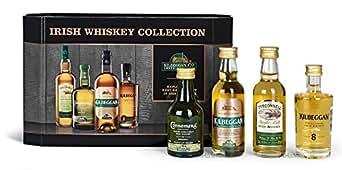 Kilbeggan Irish Whiskey Collection (5cl Greenore Single Grain Whiskey 5cl Kilbeggan Traditional Irish Whiskey 5cl Tyrconnell Single Malt Irish Whiskey 5cl Connemara Peated Single Malt Irish Whiskey) Geschenk Set