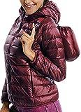 INSTINNCT Damen Gesteppte Winter Jacke Steppjacke mit Kapuze Übergang warm Winterjacke Weinrot XL