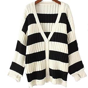 GWCSS Streifen Treffen Farbe Lose Lose Gestrickte Pullover Pullover Frauen