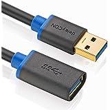 deleyCON [1m] USB 3.0 Super Speed Kabel - USB 3.0 Verlängerungskabel - USB A-Stecker zu USB A-Buchse - USB 3.0 Super Speed Technologie - Übertragungsraten bis zu 5Gbit/s - geschirmtes, flexibles PREMIUM USB 3.0 Kabel - schnelle und sichere Datenübertragung - abwärtskompatibel zu USB 2.0 / USB 1.1 - Farbe: Schwarz/Blau
