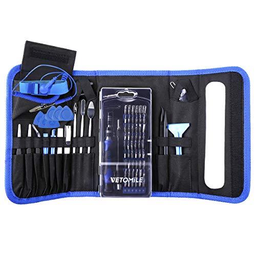 VETOMILE Juego de Destornilladores de Precisión, 86 en 1 Kit de Herramientas Magnéticas de Reparación para Teléfono, Tableta, PC, Ordenador, Reloj, Cámara, etc. Color Azul