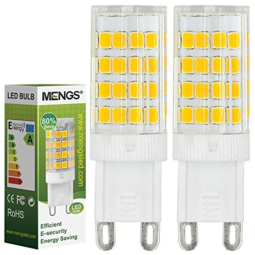 2X MENGS® G9 5W LED Lampe 51x2835 SMD Leuchtmittel Mit Keramic und ACRYLIC Material (480LM, Warmweiß 3000K , AC 220-240V, 360º Abstrahlwinkel, Ø15 x 48mm) Energiespar Licht sehr gut für die Wärmeabgabe