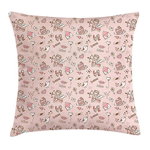 Angel Throw Pillow Cushion Cover, Doodle Cupid Cake Birds Dove Locked Hearts Flowers Valentines Celebration, Decorative Square Accent Pillow Case, 18 X 18 inches, Blush Pale Pink Umber