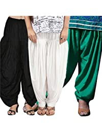 ROOLIUMS ® (Brand Factory Outlet) Punjabi Patiala Salwar Combo 3 - Free Size (Black, White, Light green)