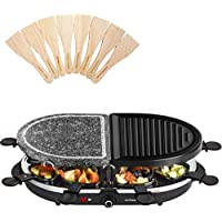 Andrew James Raclette Half Stone Half Metal Hot Plate | 8 Person Set with Pans for Cheese & Spatulas | Electric Cooker Machine with Adjustable Temperature
